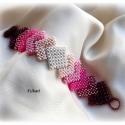 Pink árnyalatok - egyedi gyöngyfűzött karkötő, Dekoratív, egyedi, különleges formavilágú, fe...