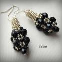 Fekete-ezüst csipke - gyöngyfűzött fülbevaló, Egyedi, saját tervezésű, fekete akril és ezüs...