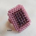 Lila gyöngyfűzött koktélgyűrű, Ékszer, Gyűrű, A lila különböző árnyalataiból, minőségi japán és cseh kásagyöngy felhasználásával, 3D RAW és Herrin..., Meska