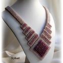 Elegáns beige - padlizsán-lila gyöngyfűzött nyakék, Ékszer, Nyaklánc, Saját tervezésű, elegáns, egyedi, különleges szín- és formavilágú, dekoratív gyöngyfűzött nyakék.  H..., Meska