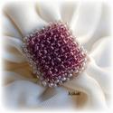 Egyedi gyöngyfűzött koktélgyűrű, Ékszer, Gyűrű, Egyedi, saját tervezésű, különleges formavilágú, dekoratív gyöngyfűzött koktélgyűrű.  Körmérete: kb...., Meska