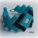 Elegáns kék gyöngyfűzött karkötő, Ékszer, óra, Karkötő, Elegáns egyedi, saját tervezésű, különleges forma- és színvilágú, dekoratív gyöngyfűzött karkötő.  F..., Meska
