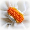 Egyedi gyöngyfűzött koktélgyűrű , Ékszer, Gyűrű, Egyedi, saját tervezésű, különleges forma- és színvilágú, dekoratív gyöngyfűzött koktélgyűrű.  Üde s..., Meska