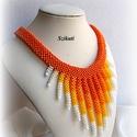 Fehér/sárga/narancs gyöngyfűzött nyakék, Ékszer, óra, Nyaklánc, Egyedi, saját tervezésű, különleges formavilágú, dekoratív gyöngyfűzött nyakék.  Meleg színárnyalata..., Meska