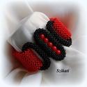 Piros - fekete gyöngyfűzött karkötő, Ékszer, Karkötő, Egyedi, saját tervezésű, különleges formavilágú, dekoratív gyöngyfűzött karkötő.  Hosszúság: kb. 19 ..., Meska