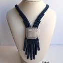 Elegáns gyöngyfűzött nyakék, Ékszer, Nyaklánc, Saját tervezésű elegáns, egyedi, különleges formavilágú, dekoratív gyöngyfűzött nyakék.  Hossza: kb...., Meska