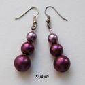 Elegáns lila tekla fülbevaló, Ékszer, Fülbevaló, Elegáns fülbevaló két árnyalatú lila tekla gyöngyből.  Hossza akasztóval együtt: 5,3 cm  A fülbevaló..., Meska