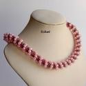 Rózsaszín - szürke Cellini gyöngyfűzött nyaklánc, Ékszer, Nyaklánc, Egyedi, saját tervezésű, különleges forma- és színvilágú, dekoratív gyöngyfűzött nyaklánc.  Fém alka..., Meska