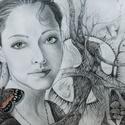 Lány pillangóval grafika-vászonnyomat, Dekoráció, Otthon, lakberendezés, Képzőművészet, Falikép, Fotó, grafika, rajz, illusztráció, Művésztanárként dolgozom és a tanítás mellet grafikákat, festményeket készítek, melyeket sokszorosí..., Meska
