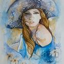 Nő kalapban akvarell-vászonnyomat, Dekoráció, Otthon, lakberendezés, Képzőművészet, Falikép, Fotó, grafika, rajz, illusztráció, Művésztanárként dolgozom és a tanítás mellet grafikákat, festményeket készítek, melyeket sokszorosí..., Meska