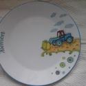 Markológépes  mintával megfestett porcelán gyermek étkészlet, Baba-mama-gyerek, Konyhafelszerelés, Baba-mama kellék, Bögre, csésze, Festészet, Kerámia,   3 részből álló markológépes mintával festett porcelán gyermek étkészlet.  Kemény porcelán alapany..., Meska