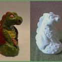 Ceruzatartó sárkány, Baba-mama-gyerek, Gyerekszoba, Tárolóeszköz - gyerekszobába, Szobrászat, Gipszből készült, festhető ceruzatartó figura. Mérete: 10x5 cm.  Egy darab ceruza, vagy toll tárolá..., Meska