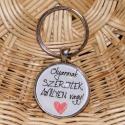 Üveglencsés fém kulcstartó- Olyannak szeretlek, Mindenmás, Kulcstartó, 3 cm átmérőjű fém alapra készült ez a kulcstartó. Tesztelve lett strapabírósága, így nyugodt szívvel..., Meska