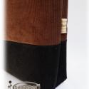 Csokoládébarna-fekete kord női táska, egyedi virág motívummal díszítve (SzilvaFolt) - Meska.hu