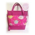 Magenta / Pink színű női táska textilbőrből, designer textillel, Ruha, divat, cipő, Táska, Laptoptáska, Válltáska, oldaltáska, Magenta / Pink színű textilbőrből készült női táska, Párizs imádóinak, pakolós méretben, a képeken l..., Meska