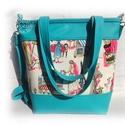 Azúrkék színű női táska textilbőrből, designer textillel, Ruha, divat, cipő, Táska, Laptoptáska, Válltáska, oldaltáska, Azúrkék színű textilbőrből készült női táska, Párizs imádóinak, pakolós méretben, a képeken látható ..., Meska