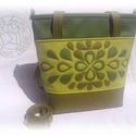 A zöld három árnyalata :o) Női táska textilbőrből, egyedi motívummal, Ruha, divat, cipő, Táska, Laptoptáska, Válltáska, oldaltáska, A jelenleg készleten lévő három színű textilbőr felhasználásával készült női táska a képeken látható..., Meska