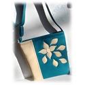 Csodaszép kék színű textilbőr női táska, Ruha, divat, cipő, Táska, Laptoptáska, Válltáska, oldaltáska, Gyönyörűszép kék színű textilbőrből készült női táska a képeken látható kivitelben. A táska díszét, ..., Meska