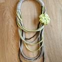Pólófonal nyaklánc, Ékszer, Nyaklánc, Horgolás, Varrás, Pólófonalból készítettem ezt a nyakláncot, a legkisebb átmérője kb 22cm. Ha más színösszeállításban..., Meska