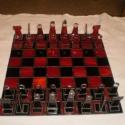 Tiffany üveg sakktábla!, Otthon, lakberendezés, Játék, Dísz, Társasjáték, Tiffany üveg sakktábla!  Tiffany technikával készült, Spectrum üvegből.  kb. 50x50 cm-es, Meska