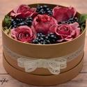 Élethű, romantikus virágdoboz 24 cm, Dekoráció, Otthon, lakberendezés, Csokor, Asztaldísz, Élethű selyemvirágokból, romantikus stílusban készítettem el ezt a csodaszép órási virágd..., Meska