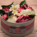 Élethű, romantikus virágdoboz 22 cm, Dekoráció, Otthon, lakberendezés, Csokor, Asztaldísz, Élethű selyemvirágokból, romantikus stílusban készítettem el ezt a csodaszép órási virágd..., Meska