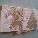 Csokidoboz karácsonyi köntösben nem csak csokinak, Dekoráció, Ünnepi dekoráció, Karácsonyi, adventi apróságok, 100 g-os méretű csokira készült dobozka. Csokin kívül sok minden belefér. A fedőlapi mintás..., Meska