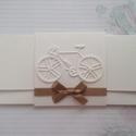 Kerékpár rajongóknak, Naptár, képeslap, album, Esküvő, Ajándékkísérő, Nászajándék, Késztermék, azonnal viheted :) Gyönyörű törtfehér strukturált kartonból készült pénz vag..., Meska