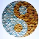 YinYang Mozaik (fémes) - mandala falra, Dekoráció, Képzőművészet, Otthon, lakberendezés, Festmény, Üvegművészet, Festészet, 25 cm átmérőjű üveglapra (3 mm) festett mandala. A yin-yang ősi motívum, mindannyian ismerjük. Az é..., Meska