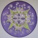 Szív-virág, lila, Otthon, lakberendezés, Falikép, 25 cm átmérőjű kézzel festett egyedi selyemkép. A nyíló virágot ábrázoló mandala mintához a lila és ..., Meska