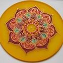 Belső virág mandala, Dekoráció, Kép, 20 cm átmérőjű kézzel festett egyedi selyemkép. A  mandala többek között önmagunk legmélyebb középpo..., Meska