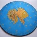 Szívárvány hal, Dekoráció, Kép, 25 cm átmérőjű kézzel festett egyedi selyemkép. Játékos, vidám képnek készült, a halacska egyediségé..., Meska