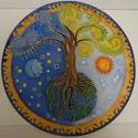 Életfa mandala, 35 cm átmérőjű kézzel festett selyemkép. Az ...