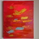 Rohanás, Képzőművészet, Festmény, Akril, Festészet, Absztrakt, 24 x 30 cm vászon, akril, struktúra paszta A színek intenzitása, és a lendületes ecsetvo..., Meska