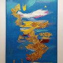 Aladdin, Képzőművészet, Festmény, Akril, Festmény vegyes technika, Festészet, Absztrakt, 35 x 70 cm vászon, akril, füst fólia A kép közepén, mint egy elmosódott álomkép, egy ala..., Meska