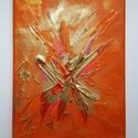 Belső tűz, Képzőművészet, Festmény, Akril, Festmény vegyes technika, Absztrakt, 18 x 24 cm vászon, akril, pigment por A kép ajándékba készült, és a belső erő, a..., Meska