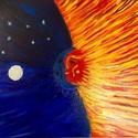 Nap és a Hold, Dekoráció, Képzőművészet, Kép, Festmény, Festészet, Nap és a Hold egyedi akril festmény 40x30cm, feszített vászon, Meska