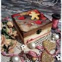 LIMITÁLT! Mézeskalács doboz - ajándék / teás doboz / teafilter tartó / ékszertartó / emlék doboz / keksz / karácsony, Otthon, lakberendezés, Dekoráció, Karácsonyi, adventi apróságok, Ünnepi dekoráció, Festett tárgyak, Decoupage, transzfer és szalvétatechnika, Ezek az alkotások a téli időszak, advent és karácsony kuckós és meghitt hangulatában születtek meg,..., Meska