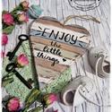 Enjoy the little things - ajtódísz, szív, Dekoráció, Otthon, lakberendezés, Dísz, Ajtódísz, kopogtató, Festett tárgyak, !!!!!! A leadott megrendelések DECEMBER ELSŐ HETÉBEN kerülnek elkészítésre, majd utána postázásra!!..., Meska