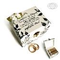 Fehér Indás gyűrűtartó doboz - ládika / gyűrű / ékszer / ékszertartó / esküvő / lánykérés / eljegyzés / gyűrűpárna, Esküvő, Ékszer, Szerelmeseknek, Gyűrűpárna, ♥♥ 10.000 Ft* összértéket meghaladó vásárlás esetén a SZÁLLÍTÁS INGYENES.  ♥♥ 15...., Meska