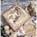 LIMITÁLT! Vintage Karácsony doboz -  ajándék / teás doboz / teafilter tartó / ékszertartó / emlékdoboz / keksz, Dekoráció, Karácsonyi, adventi apróságok, Ünnepi dekoráció, Karácsonyi dekoráció, Festett tárgyak, Decoupage, transzfer és szalvétatechnika, Ezek az alkotások a téli időszak, Advent és Karácsony kuckós és meghitt hangulatában születtek meg,..., Meska