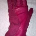 pink hullámos, Ruha, divat, cipő, Kendő, sál, sapka, kesztyű, Kesztyű, Bőrművesség, Varrás, Juhnappa bőrből készült női kesztyű. Pink színű,felsőn velúr betétes díszítés. Gyapjú bélelt. Méret..., Meska