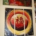 FENG SHUI szerencse festmény eredeti , 100 % -ban kézzel festett alkotás !, Képzőművészet, Festmény, Akril, Festmény vegyes technika, Festészet,  Eredeti , 100 % -ban kézzel festett, értékes festmény új állapotban .  Kínai kaligráfiával , a jó ..., Meska