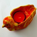 Dísztárgy kerámia mécsestartó madár, Otthon & Lakás, Dekoráció, Dísztárgy, Kerámia, Madár formájú, lángokat idéző  teamécses tartó Hossza: 15 cm Szélesség, magasság: 5-5 cm (narancs, ..., Meska