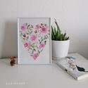 Rózsák-akvarell, Művészet, Festmény, Akvarell, Festészet, Egyedi akvarell festmény, rózsák szív alakban. Kiváló minőségű Hahnemühle akvarell papíron, A4 mére..., Meska
