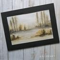 Tájkép - akvarell, Művészet, Festmény, Akvarell, Festészet, Sejtelmes tájkép, akvarell, nem nyomat, eredeti festmény szignózva. Kiváló minőségű Hahnemühle 310g..., Meska