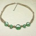 Zöld üveggyöngyös - spárga nyakék, Ékszer, Nyaklánc, Kellemes, nyugtató  színű ez a minimalista,  üveggyöngyös spárga nyakék. Rusztikus, de ugyanakkor el..., Meska
