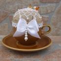 Tűpárna csészében - Fahéjas Álom, Otthon, lakberendezés, Dekoráció, Dísz, Egyedi Tűpárna Horgolt mintával.  Egy gyönyörű barna csészében egy adag fahéjas kávé. :)  Saját kész..., Meska