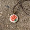 Keresztszemes Rózsa mintás nyaklánc, Ékszer, Nyaklánc, Egyedi Keresztszemes mintás nyaklánc.  Saját készítésű, egyedileg tervezett keresztszemes rózsa mint..., Meska
