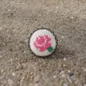 Keresztszemes Rózsa mintás gyűrű, Ékszer, Gyűrű, Egyedi Keresztszemes mintás gyűrű.  Saját készítésű, egyedileg tervezett keresztszemes rózsa mintáva..., Meska